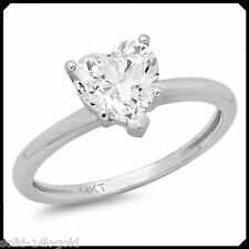 MEGAN Heart Cut Synthetic Diamond VVS1 Solitaire 14K White GOLD Engagement Ring