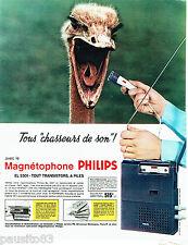 PUBLICITE ADVERTISING 026  1965  Philips  magnétophone EL 3301 CHASSEUR DE SONS