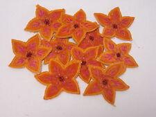 10 x Embroidered Orange Flower Photo Album Scrap Book Card Making Motifs #34B162