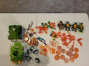 Ninja Turtles Lot, Playmates, Accessories, 1988 Original Figures, Pizza Thrower