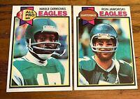 1979 Topps #250 Harold Carmichael and #323 Ron Jaworski - Eagles