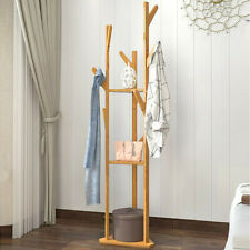 3-Tier 9 Hooks Bamboo Hat Coat Rack Clothes Tree Stand Home Tidy Display Shelf