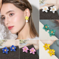 Elegant Pearl Women Double Layer Flower Drop Dangle Earrings Ear Stud Jewelry