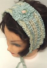 RARE Antique Teens 1920's Flapper Blue Lace Headband Hair Piece Hat
