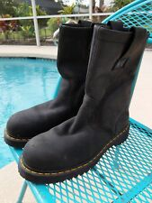 Dr. Martens 10.5 inch Tall Steel Toe Work Boots Mens Size 10(US)M Black Pull On