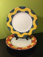 """2 Pottery Barn Yellow Red Blue Dinner Plates Hand Painted Art 12"""" Unique Set"""