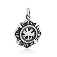 Fire Department Charm - 925 Sterling Silver Maltese Cross Firefighter NEW