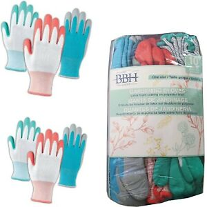 BBH Gardening Gloves Pack of 10 Latex Foam Coating One size Heavy Duty