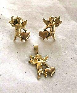 10k Yellow & Rose Gold Cherub Cupid w/ Heart Stud Earrings & Pendant Set