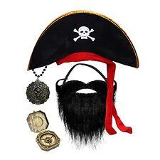 Pirate Fancy Dress Costume Accessories - Hat, Black Beard / Compass / Medallion
