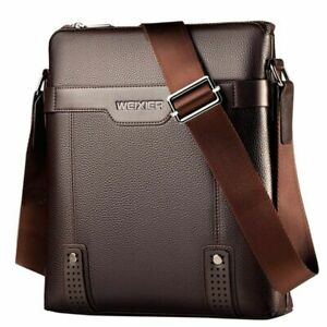 Leather Men Crossbody Handbag Messenger Fashion Business Mens Shoulder Purse Bag