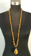 Amber Bead Strand Necklace Teardrop Mona Lisa Pendent