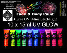 10 x 15ml - UV Glow ULTIMATE Neon Face Body Paint + FREE UV LIGHT! **