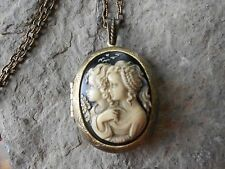 SISTERS, MOTHER, DAUGHTER, FRIEND CAMEO (HAND PAINTED!) LOCKET-  BRONZE, VINTAGE
