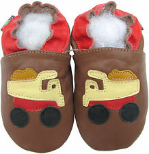 shoeszoo soft sole leather baby shoes dump truck brown 6-12m S
