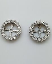 White SI1 Real  Diamond Halo Solitaire Stud Bridal Earrings Jackets 14K W Gold