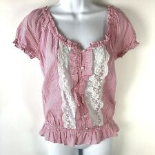 Forever 21 Top Womens Small Pin Stripe Peasant Lace Ruffle Babydoll Sheer Red S