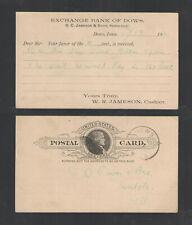 1890 Exchange Bank Of Dows Iowa Advertising Us Postal Card Ux9