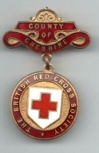 the British Red Cross ENAMEL BADGE / MEDAL County of Cheshire named Houmphrey