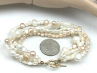 Vintage Style Bracelet Freshwater Pearl White & Blush Shimmer Multi Strand gold
