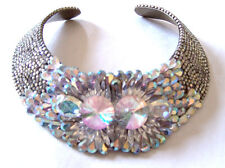 Vintage Multi-Faceted Crystal Encrusted Signed Hansen Collar Necklace