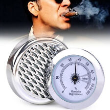 Silver Round Smoking Tobacco Hygrometer with Humidifier Cigar Humidor Wholesale