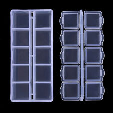 10-Grids Clear Nail Tips Decorations Container Storage Box Case Nail Tool