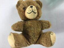 "Antique Plush Bear Bell Head Rattle VTG Stuffed Small 7.5"" Toy Teddy Cute Smile"