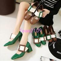 New Style Women Patent Leather Block Heel Big Buckle Vintage Mary Janes Shoes