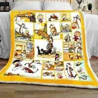 Calvin & Hobbes Funny Cartoon Quilt blanket, Fleece Blanket