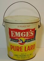 Vintage 1950s TIN LITHO EMGE GRAPHIC TIN 8 POUND LARD CAN FORT BRANCH INDIANA IN