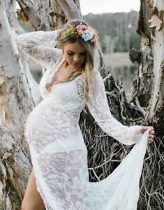 White Lace Pregnant Maternity Dress Gown Drape - Photo Shoot Prop Size 8-14
