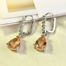 silver plated drop earrings inlaid CZ Champagne Morganite Earrings Romantic gift