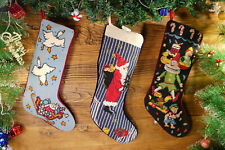 Hand Stitched Needlepoint Christmas Stocking Santa Clause Toys Clown