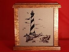 Lighthouse Nightlight Etched Glass Panel Solid Oak Wood Box Handcrafted in USA