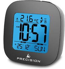 Precision Radio Controllato EL Luce LCD Sveglia Quadrante Nero AP054 da 0115