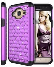 Samsung Galaxy J3 (6) Rhinestone Bling Rubber Impact Hybrid Hard Case - Purple