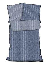 4 tlg Wende Bettwäsche 135 x 200 cm denim weiß Baumwolle Renforce