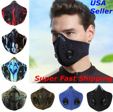 Face Mask Reusable Cycling Cover Black Dual Air Valve w Activated Carbon Filter