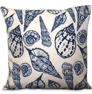 Nautical Shell Cushion, Velvet Cushion, White, Navy Blue, Seaside, Beach