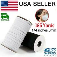 125 Yards Braided Elastic Band Cord Knit 1/4 inches width (6mm) White USA Stock
