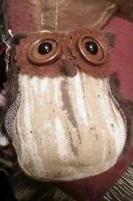 "New 4"" Brown Felt, Fur, & Fabric Owl Stuffed Hanging Ornament Wreath Decoration"