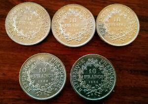 Lot de 5 Pièces de 10 Francs Hercule en Argent 1969 + 1965