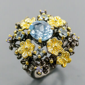 Jewelry Unique  Blue Topaz Ring Silver 925 Sterling  Size 7 /R165398