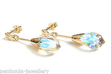 9ct Gold AB Crystal Teardrop earrings Gift Boxed