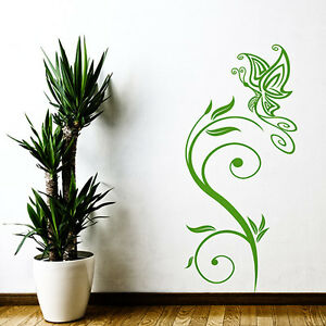 Wandtattoo Blumen Ranke & Schmetterling Aufkleber Wall Art Wand Tattoo #2007