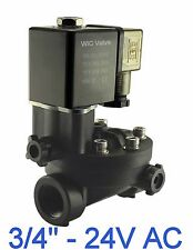 """3/4"""" Inch PA66 Plastic Electric Air Water Solenoid Valve Manual Override 24V AC"""