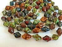 Vintage Scottish Agate Glass Bicone Bead Necklace Hand Knotted 46in Murano