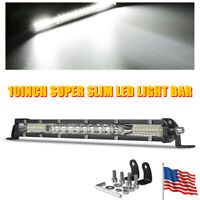 10inch Slim LED Light Bar Combo Driving Spot Flood Offroad Truck 4WD ATV SUV US