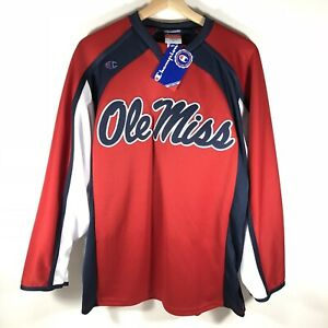 Champion Ole Miss Rebels Long Sleeve Jersey Shirt Made In USA Boy's XL